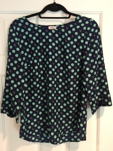 Bixby Dot Print 3/4 Tab Sleeve Blouse